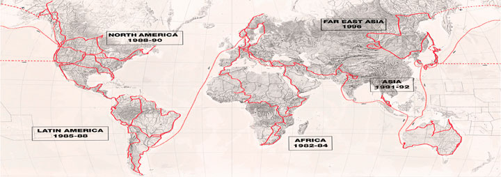 "Map showing Helge's ""10 Years on 2 Wheels"" travels"